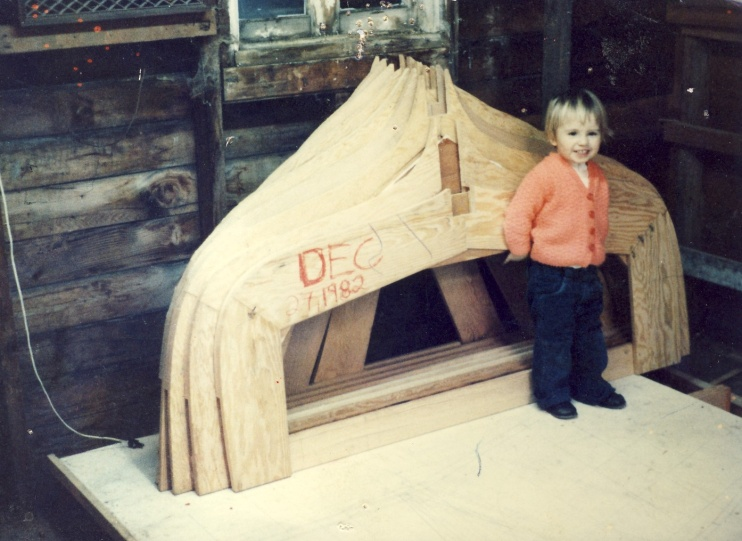 Two Year Old Olivia leaning against the Hull Frames