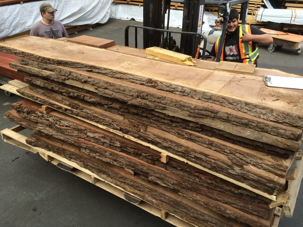 End of july new arrivals olive wood padouk black walnut for Live edge slab lumber