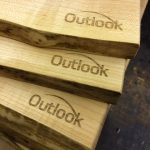 Outlook-maple serving boards live edge engraved logo