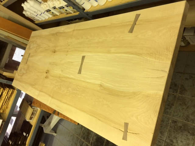 western maple tabletop with butterfly joints